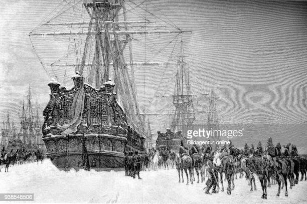 Hussars of the French Republic seized the Dutch fleet, which was enclosed by the ice in 1795, Holland, publication from the year 1882.
