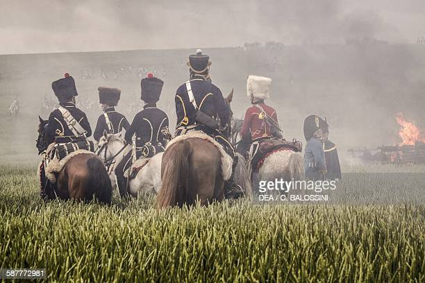 Hussars on horseback French army Battle of Waterloo 1815 Napoleonic wars 19th century Historical reenactment