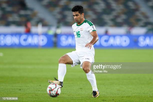 Hussein AlSaedi controls the ball during the AFC Asian Cup Group D match between Iraq and Vietnam at Zayed Sports City Stadium on January 8 2019 in...