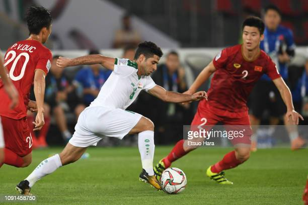 Hussein AlSaedi of Iraq controls the ball during the AFC Asian Cup Group D match between Iraq and Vietnam at Zayed Sports City Stadium on January 08...