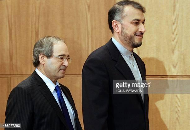 Hussein AmirAbdollahian Iran's deputy Foreign Minister for ArabAfrican Affairs arrives for a press conference with Syrian deputy Foreign Minister...