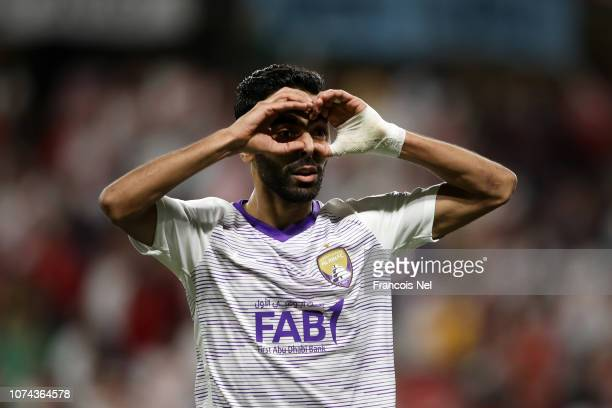 Hussein El Shahat of Al Ain celebrates after scoring his team's second goal which was later reviewed by VAR and disallowed during the FIFA Club World...