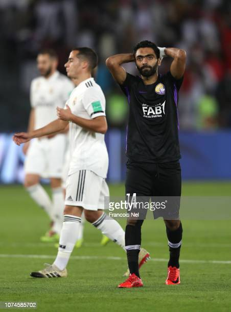 Hussein El Shahat of Al Ain reacts during the FIFA Club World Cup UAE 2018 Final between Al Ain and Real Madrid at the Zayed Sports City Stadium on...