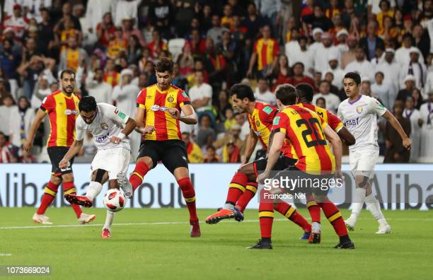 Hussein El Shahat of Al Ain scores his team's second goal during the FIFA Club World Cup UAE 2018 Second round match between ES Tunis v Al Ain at the...