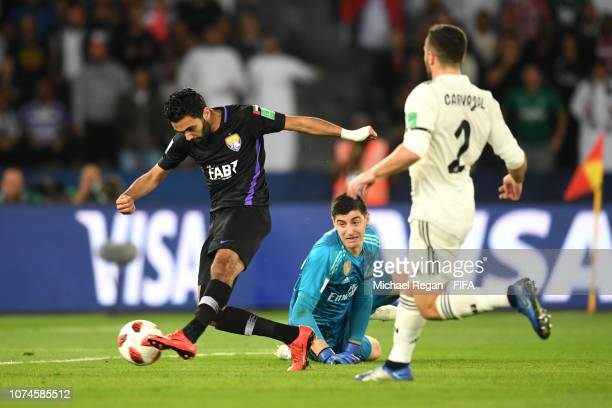 Hussein El Shahat of Al Ain shoots during the FIFA Club World Cup UAE 2018 Final between Al Ain and Real Madrid at the Zayed Sports City Stadium on...