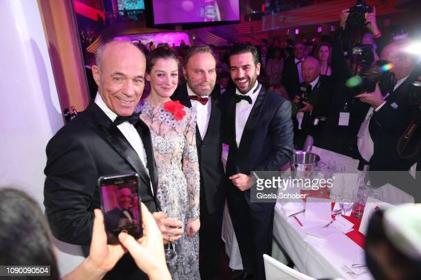 Hussein Eliraqui Jella Haase Alireza Golafshan during the 46th German Film Ball party at Hotel Bayerischer Hof on January 26 2019 in Munich Germany