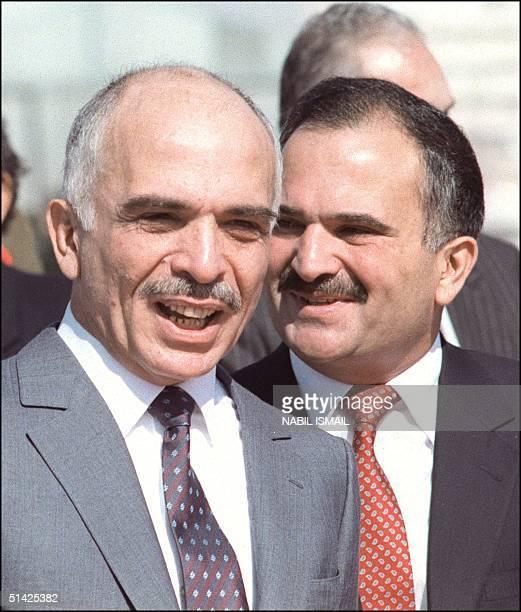 Hussein Ibn Talal , King of Jordan and his brother Crown Prince Hassan ibn Talal of Jordan at Marka airport near Amman 08 November 1987, prior the...
