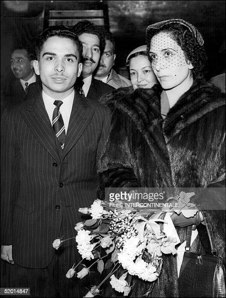 Hussein Ibn Talal King of Jordan greets his mother Queen Zaine at London airport after her arrival 09 December 1952 by BOAC liner from Amman Hussein...