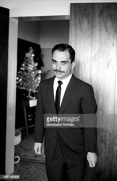 Hussein of Jordan posing in his private house Jordan 24th March 1964