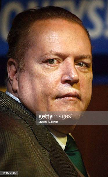 Hustler Magazine founder Larry Flynt speaks at the opening party of The Hustler Club February 20 2002 in San Francisco CA