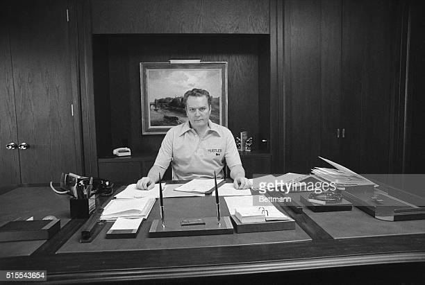 Hustler Magazine owner Larry Flynt shown here in his Los Angeles office 3/5 was gunned down in Lawrenceville Georgia a year ago in the midst of an...