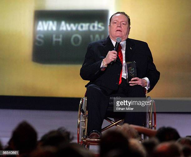Hustler magazine publisher Larry Flynt accepts the Hall of Fame Founders award at the Adult Video News Awards Show at the Venetian Resort Hotel and...