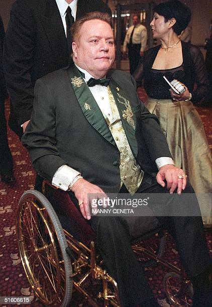 Hustler publisher Larry Flint leaves the White House Correspondents Dinner in Washington DC 01 May 1999 Flint was the guest of John F Kennedy Jr...