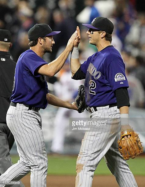 Huston Street and Troy Tulowitzki of the Colorado Rockies celebrate after defeating the New York Mets on April 11 2011 at Citi Field in the Flushing...