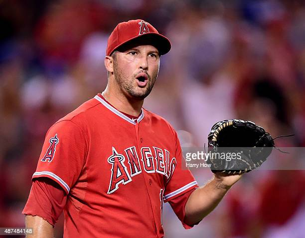 Huston Street of the Los Angeles Angels celebrates his save and a 32 win over the Los Angeles Dodgers at Angel Stadium of Anaheim on September 9 2015...