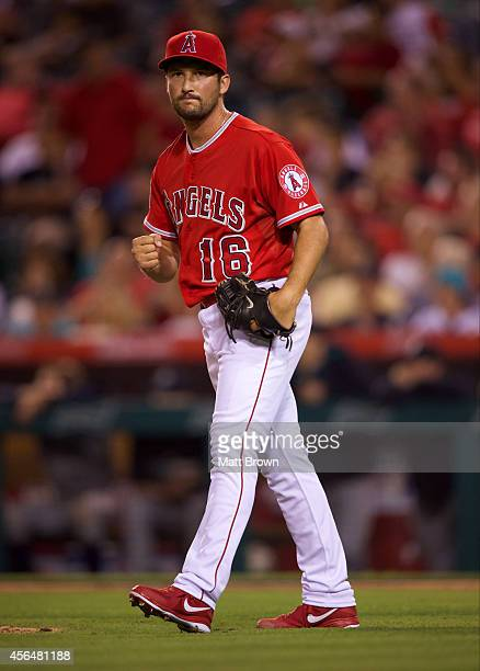 Huston Street of the Los Angeles Angels of Anaheim celebrates with a fist pump during the game against the Seattle Mariners on July 19 2014 at Angel...