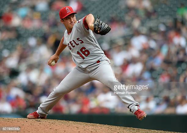 Huston Street of the Los Angeles Angels of Anaheim delivers a pitch against the Minnesota Twins during the twelfth inning of the game on April 17...