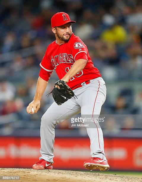 Huston Street of the Los Angeles Angels of Anaheim in action against the New York Yankees at Yankee Stadium on June 9 2016 in the Bronx borough of...