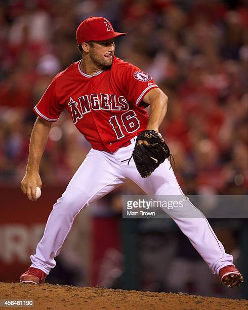 Huston Street of the Los Angeles Angels of Anaheim pitches during the game against the Seattle Mariners on July 19 2014 at Angel Stadium of Anaheim...