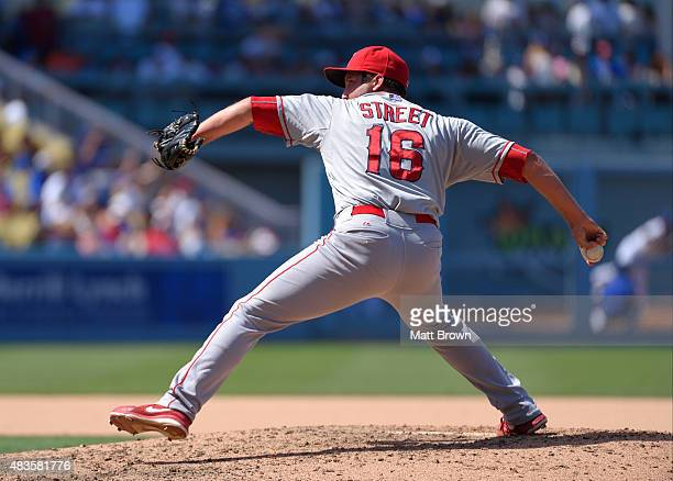 Huston Street of the Los Angeles Angels of Anaheim pitches during the eighth inning of the game against the Los Angeles Dodgers at Dodger Stadium on...