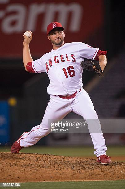 Huston Street of the Los Angeles Angels of Anaheim pitches during the ninth inning of the game against the Detroit Tigers at Angel Stadium of Anaheim...