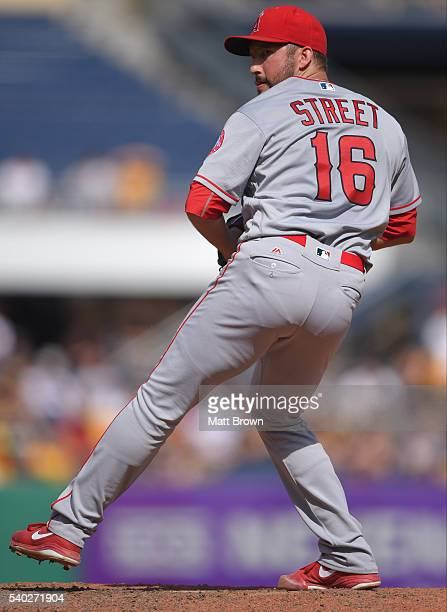 Huston Street of the Los Angeles Angels of Anaheim pitches during the game against the Pittsburgh Pirates at PNC Stadium on June 5 2016 in Pittsburgh...