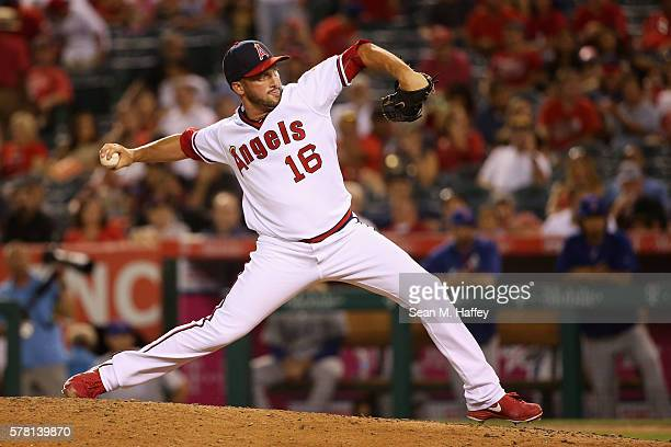 Huston Street of the Los Angeles Angels of Anaheim pitches during the ninth inning of a baseball game against the Texas Rangers at Angel Stadium of...
