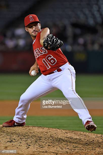 Huston Street of the Los Angeles Angels of Anaheim pitches in the ninth inning against the Texas Rangers at Angel Stadium of Anaheim on April 25 2015...