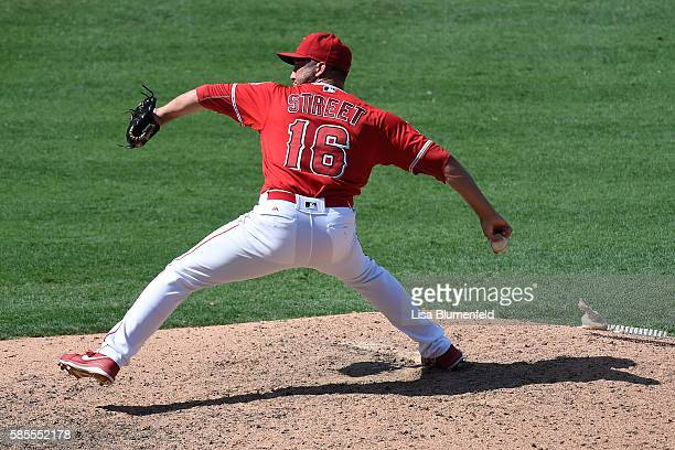 Huston Street of the Los Angeles Angels of Anaheim pitches in the ninth inning against the Boston Red Sox at Angel Stadium of Anaheim on July 31 2016...