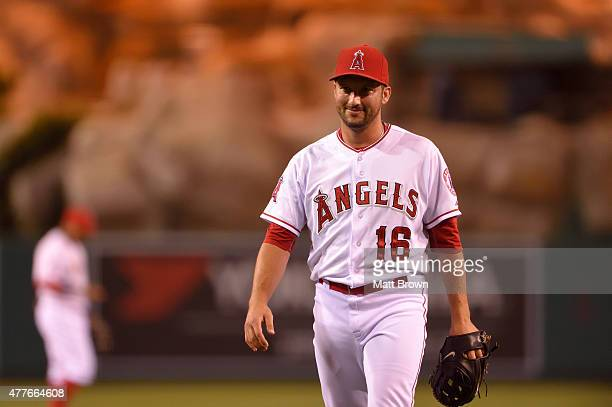 Huston Street of the Los Angeles Angels of Anaheim smiles after defeating the Detroit Tigers 42 at Angel Stadium of Anaheim on May 31 2015 in Anaheim...