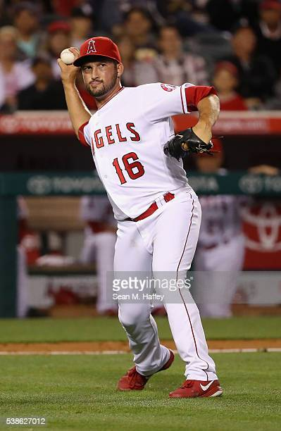 Huston Street of the Los Angeles Angels of Anaheim throws to first base during a baseball game against the Detroit Tigers at Angel Stadium of Anaheim...