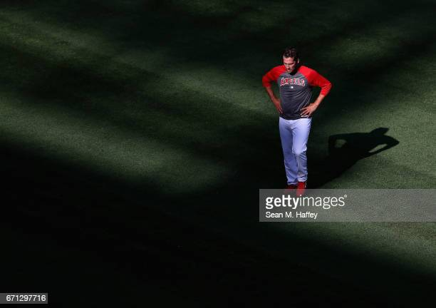 Huston Street of the Los Angeles Angels of Anaheim walks in the outfield prior to a game against the Toronto Blue Jays at Angel Stadium of Anaheim on...