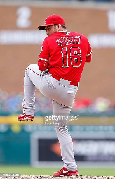 Huston Street of the Los Angeles Angels pitches during the ninth inning of the game against the the Detroit Tigers during the first inning of the...