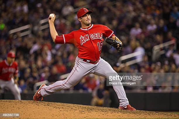 Huston Street of the Los Angeles Angels pitches in the second game of a doubleheader against the Minnesota Twins on September 19 2015 at Target Field...