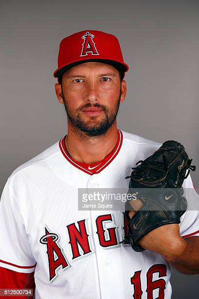 Huston Street of the Los Angeles Angels poses during a spring training photo day on February 26 2016 in Tempe Arizona