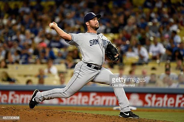 Huston Street of the San Diego Padres pitches against the Los Angeles Dodgers at Dodger Stadium on July 11 2014 in Los Angeles California