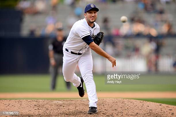Huston Street of the San Diego Padres pitches against the Pittsburgh Pirates at Petco Park on August 21 2013 in San Diego California