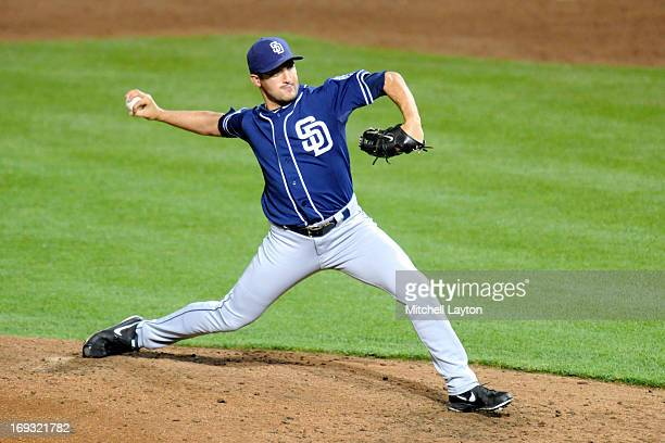 Huston Street of the San Diego Padres pitches during a baseball game against the Baltimore Orioles on May 14 2013 at Oriole Park at Camden Yards in...