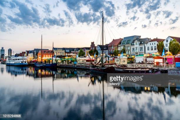 husum harbor at sunset nordfriesland germany - north sea stock pictures, royalty-free photos & images