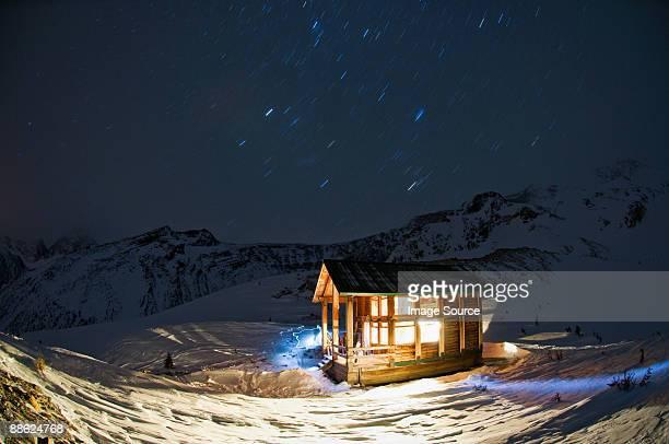A hut at night