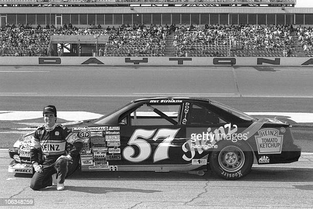 Hut Strickin poses with his Heinzsponsored NASCAR Cup car owned by Rod Osterlund at Daytona International Speedway Although Stricklin failed to...