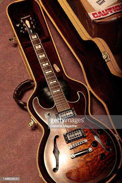 Hutchins Prince electric guitar owned by the members of Australian rock band Tracer during a shoot for Guitarist Magazine/Future via Getty Images...