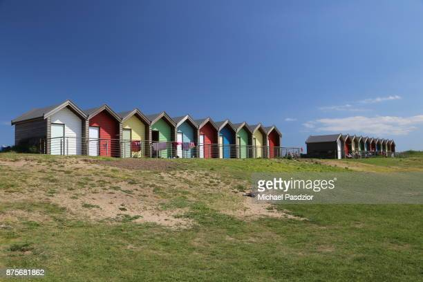 huts at the beach - blyth northumberland stock pictures, royalty-free photos & images