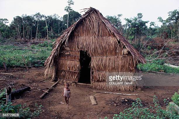Huts belonging to the Camaos a tribe decimated by alcohol who refused to leave their native land behind
