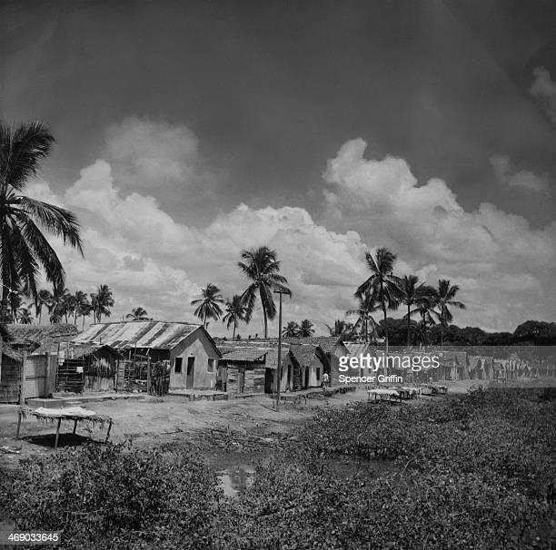 Huts in a poor area of Recife Brazil circa 1955