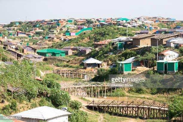 Kutupalong Ukhiya near Cox´s Bazar Bangladesh October 15 2018 Huts in the refugee camp of the Rohingya near Cox's Bazar in Bangladesh in Camp 4 in...