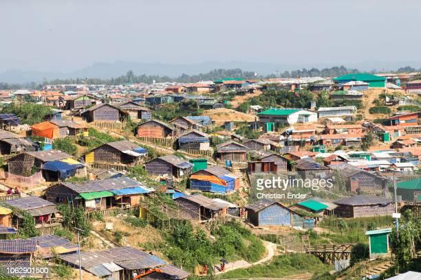 Kutupalong Ukhiya near Cox´s Bazar Bangladesh October 15 2018 Huts in the refugee camp of the Rohingyas near Cox's Bazar in Bangladesh in Camp 4 in...