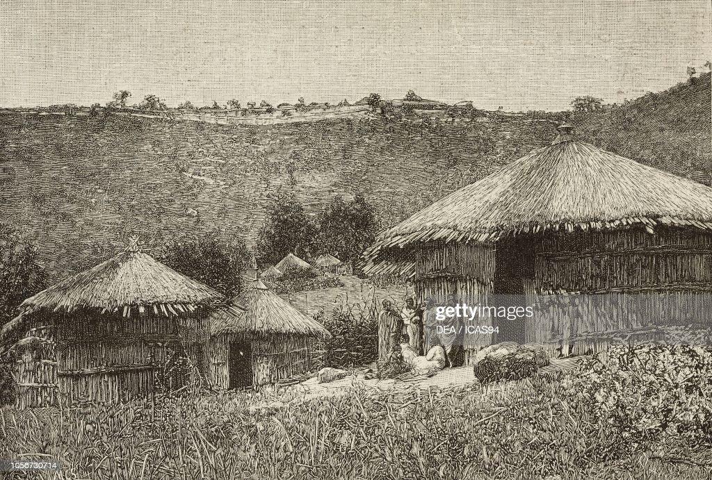 Huts on the Entoto Mountains, Shewa, engraving : News Photo