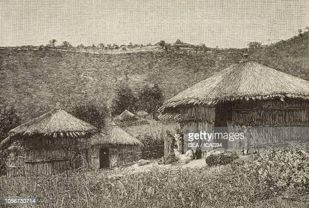 Huts on the Entoto Mountains Shewa Ethiopia on the hill the Ghebi residence of Menelik II Emperor of Ethiopia engraving from a photograph by Leopoldo...