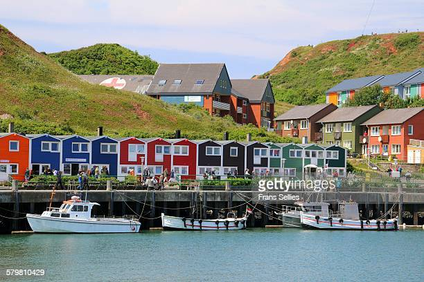 Huts, shops, houses, boats on Helgoland, Germany